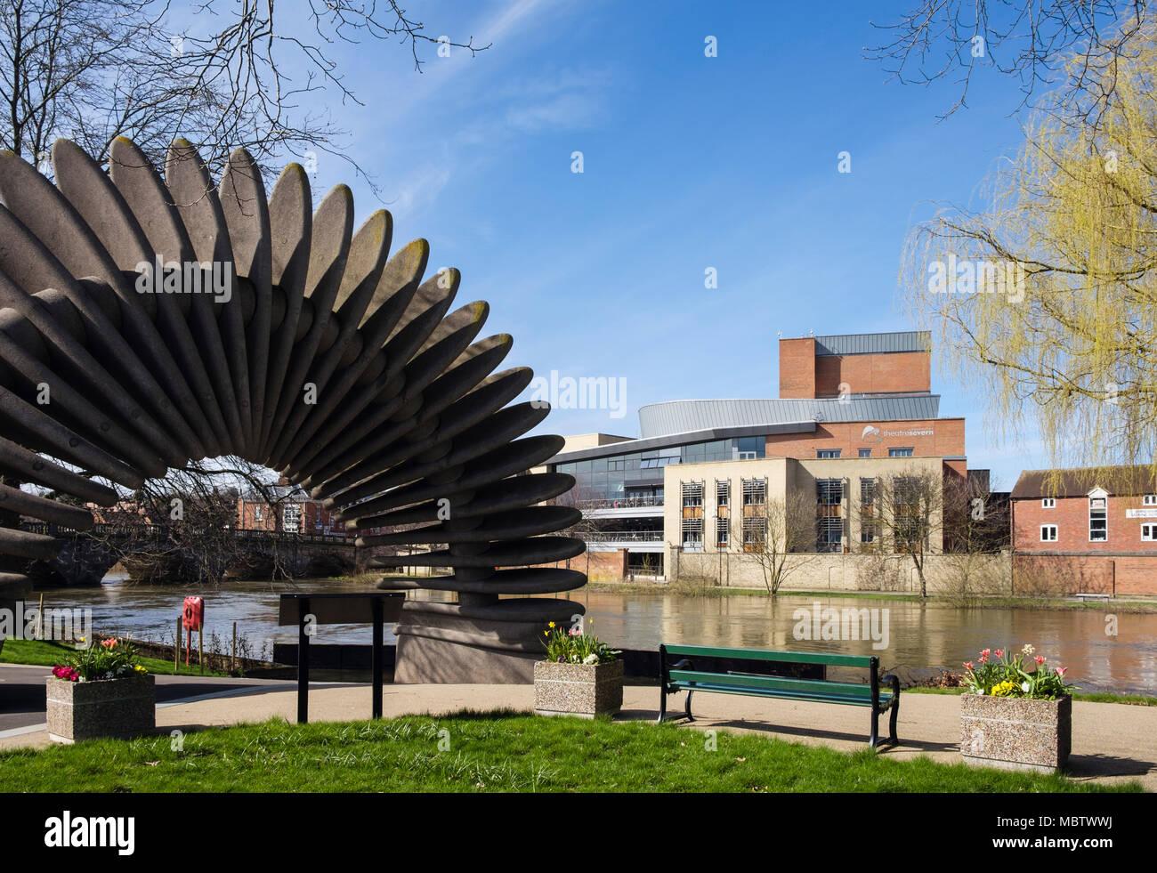 Quantum Leap sculpture in gardens by River Severn opposite TheatreSevern. Mardol Quay, Shrewsbury, Shropshire, West Midlands, England, UK, Britain - Stock Image