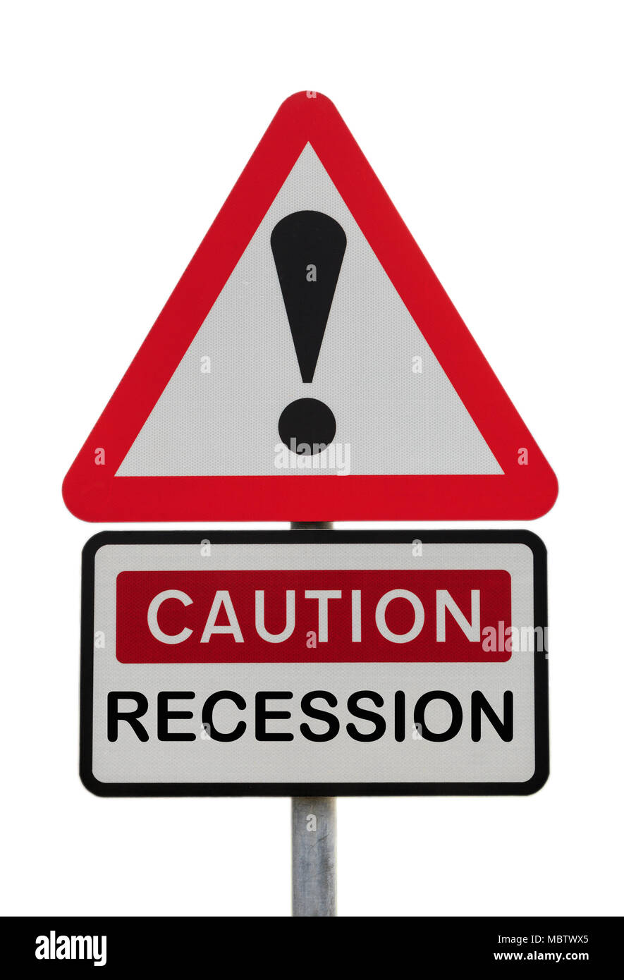 Triangular sign warning Caution Recession with exclamation mark to illustrate financial future concept. UK, Britain, Europe - Stock Image
