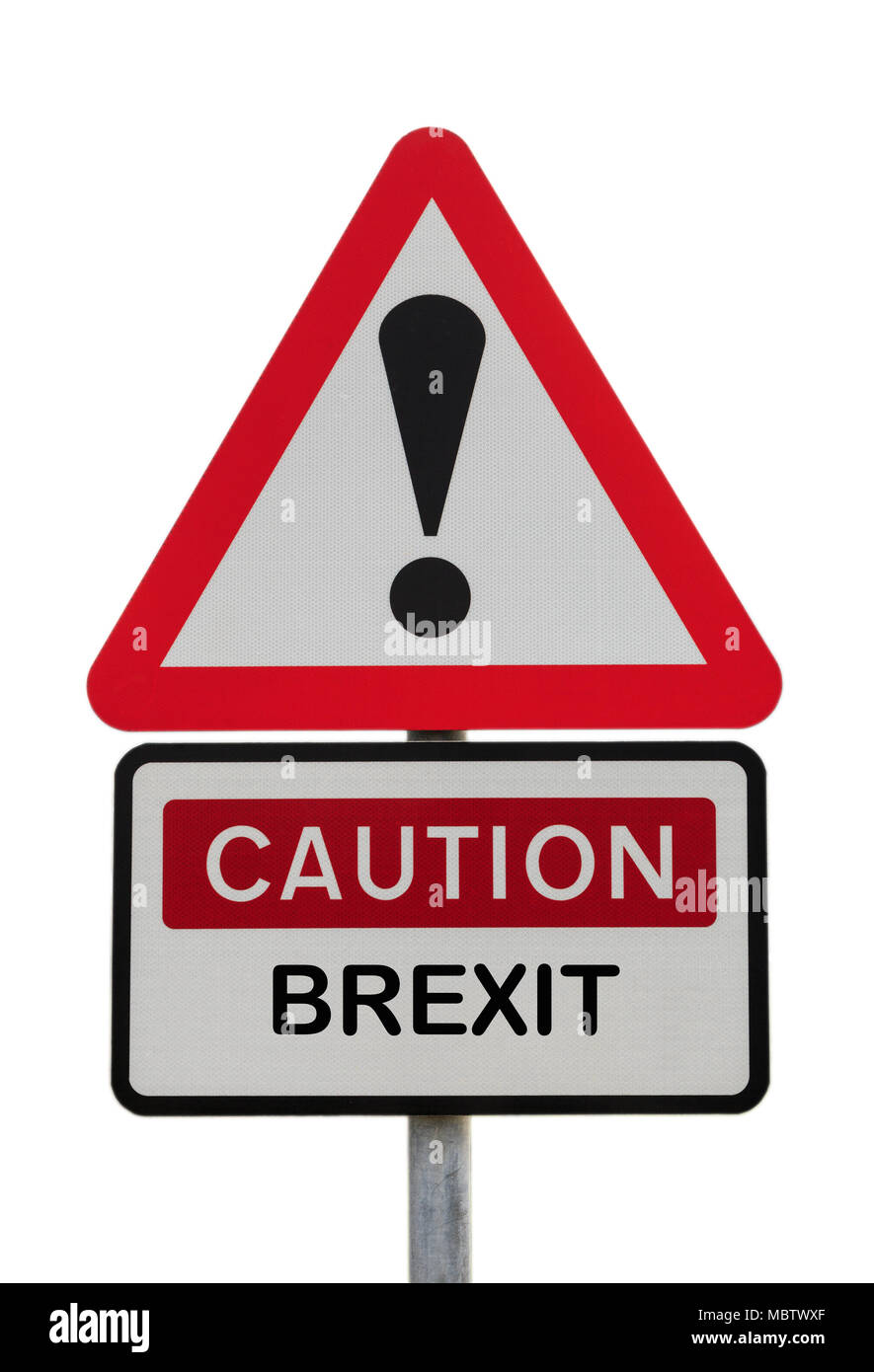 Triangular sign warning Caution Brexit with exclamation mark to illustrate financial future concept and economic change ahead. UK Great Britain Europe - Stock Image