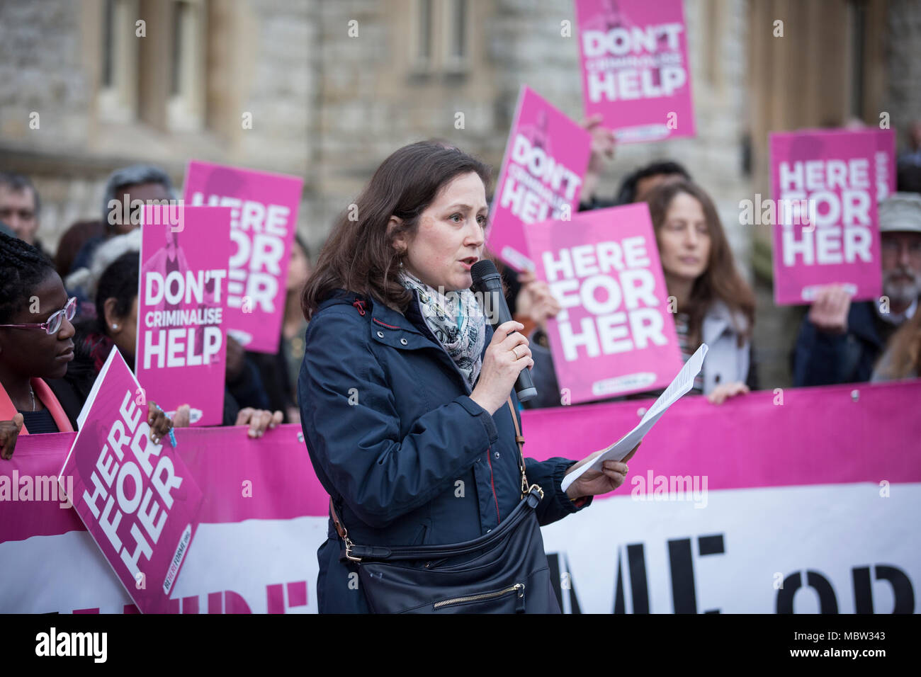 Pro-life campaigners demonstrate outside Ealing Broadway Town Hall before the abortion buffer zone vote this week, London, UK - Stock Image