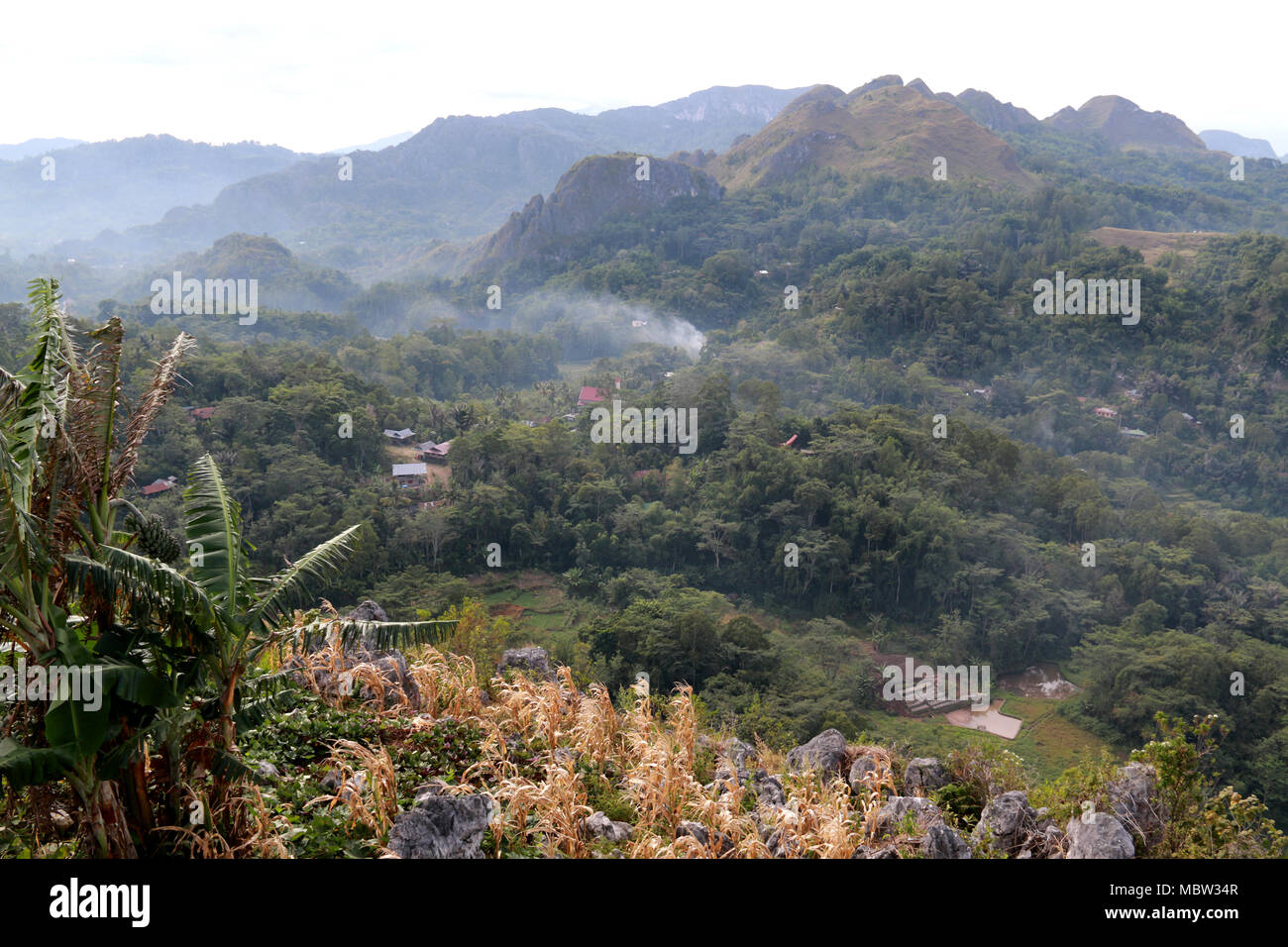 View from Burake Hill onto the Surroundings of Makale in Toraja, Sulawesi, Indonesia - Stock Image
