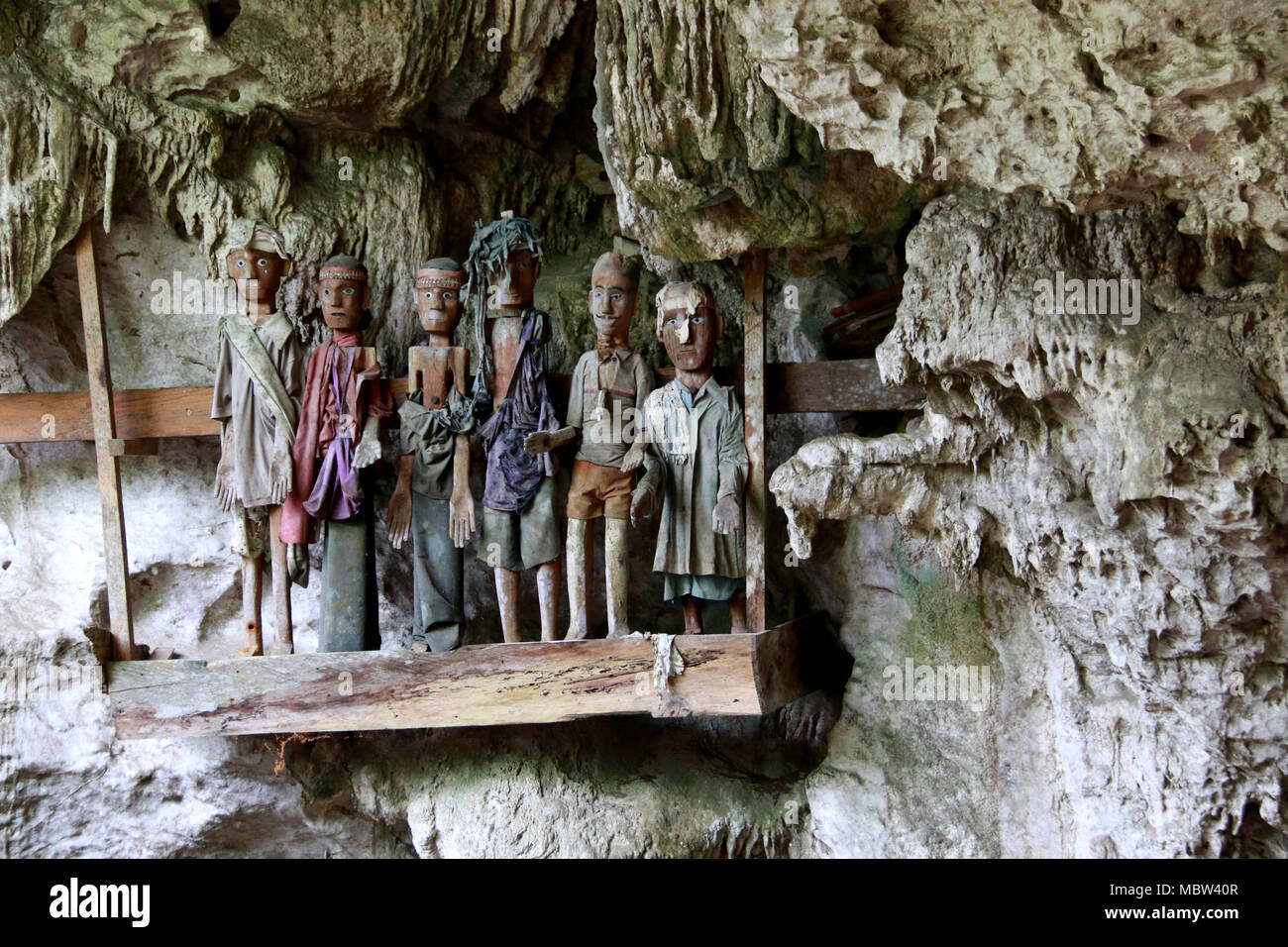 Guardians of the Dead: Tau-Tau's in the Tampang Allo Burial Cave, Sulawesi, Indonesia - Stock Image