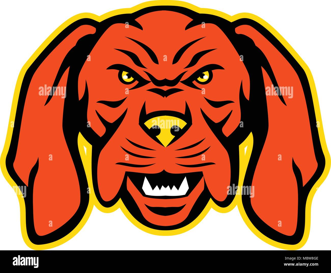 5d2074761a Mascot icon illustration of head of an angry and aggressive Hungarian or  Magyar Vizsla sporting
