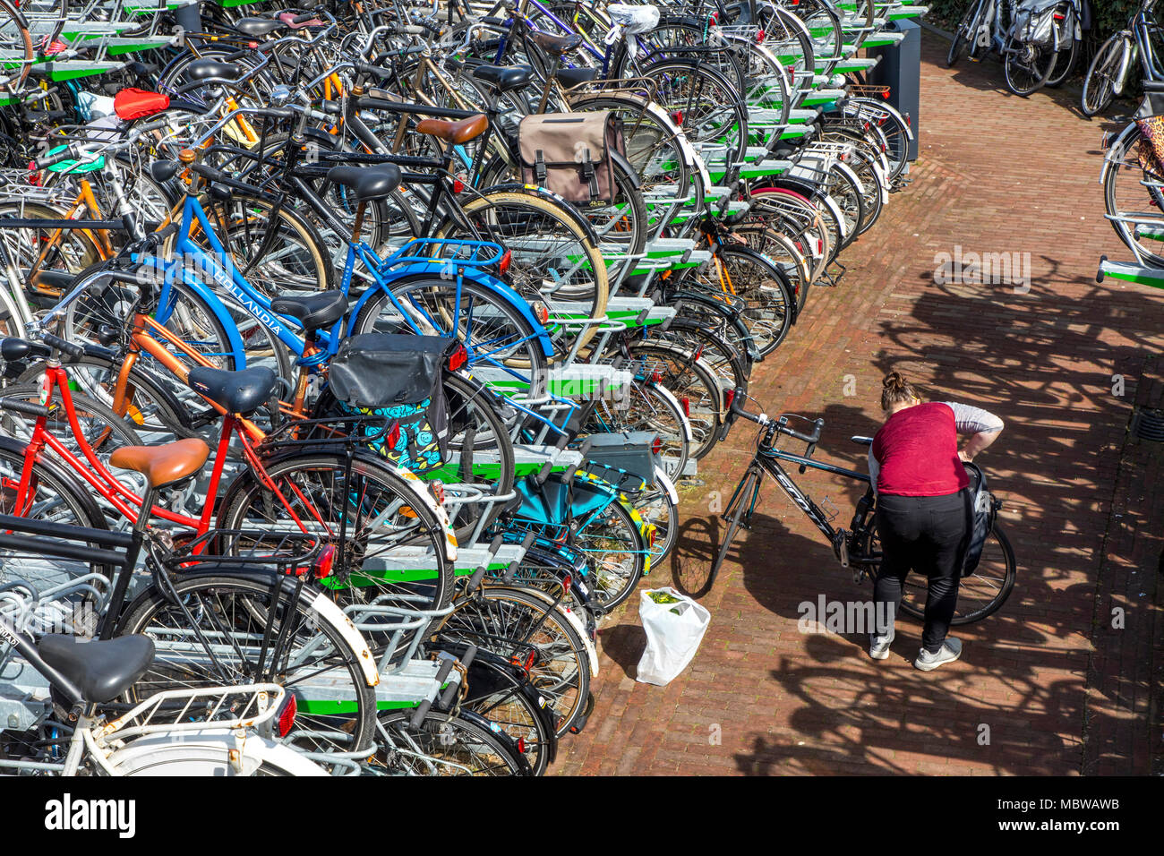Bicycle parking, parking, in the city center of Rotterdam, at the train and bus stop Blaak, secure parking spaces, on shelf parking spaces, - Stock Image