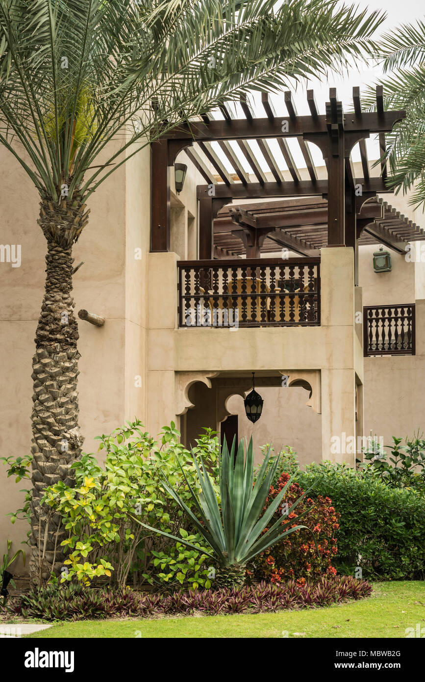 A condo balcony in the Madinat Jumeirah Souq in Dubai, UIAE, Middle East. - Stock Image