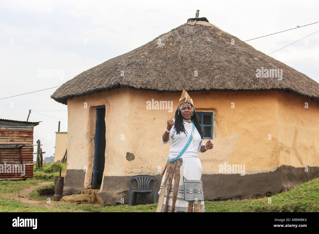 Traditional Healer from Xhosa culture in the Transkei region of South Africa - Stock Image