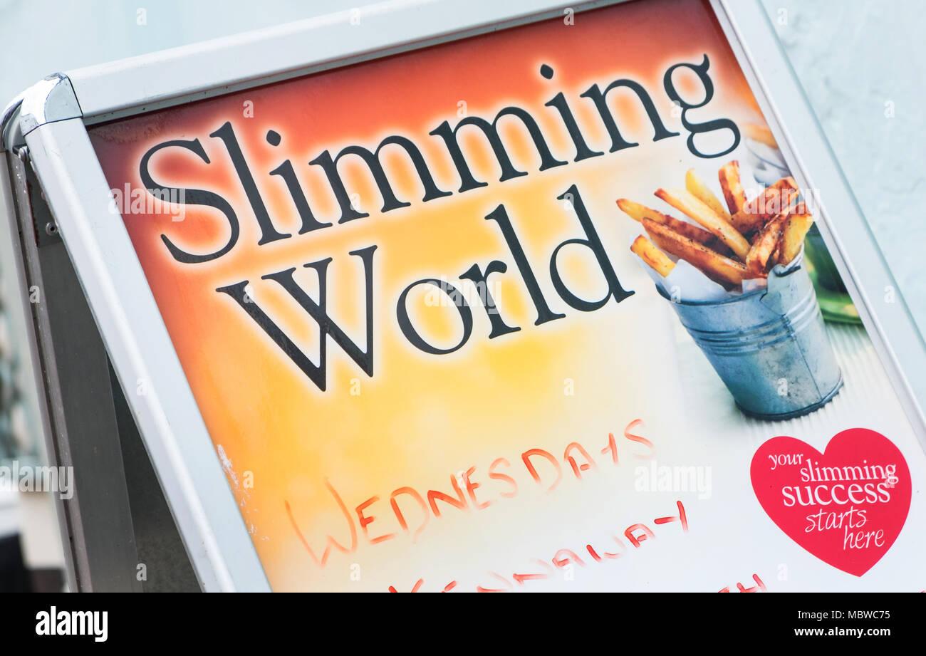 Slimming World meeting sandwich board in Devon, UK - Stock Image