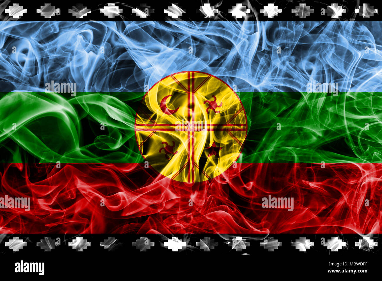 Mapuche smoke flag, Chile and Argentina dependent territory flag - Stock Image