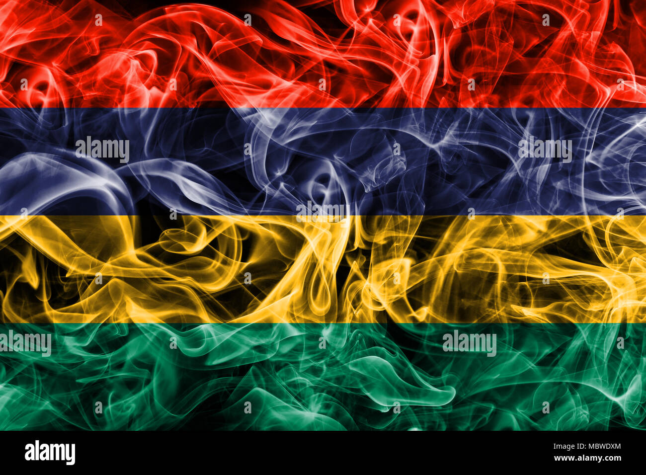 Mauritius smoke flag - Stock Image