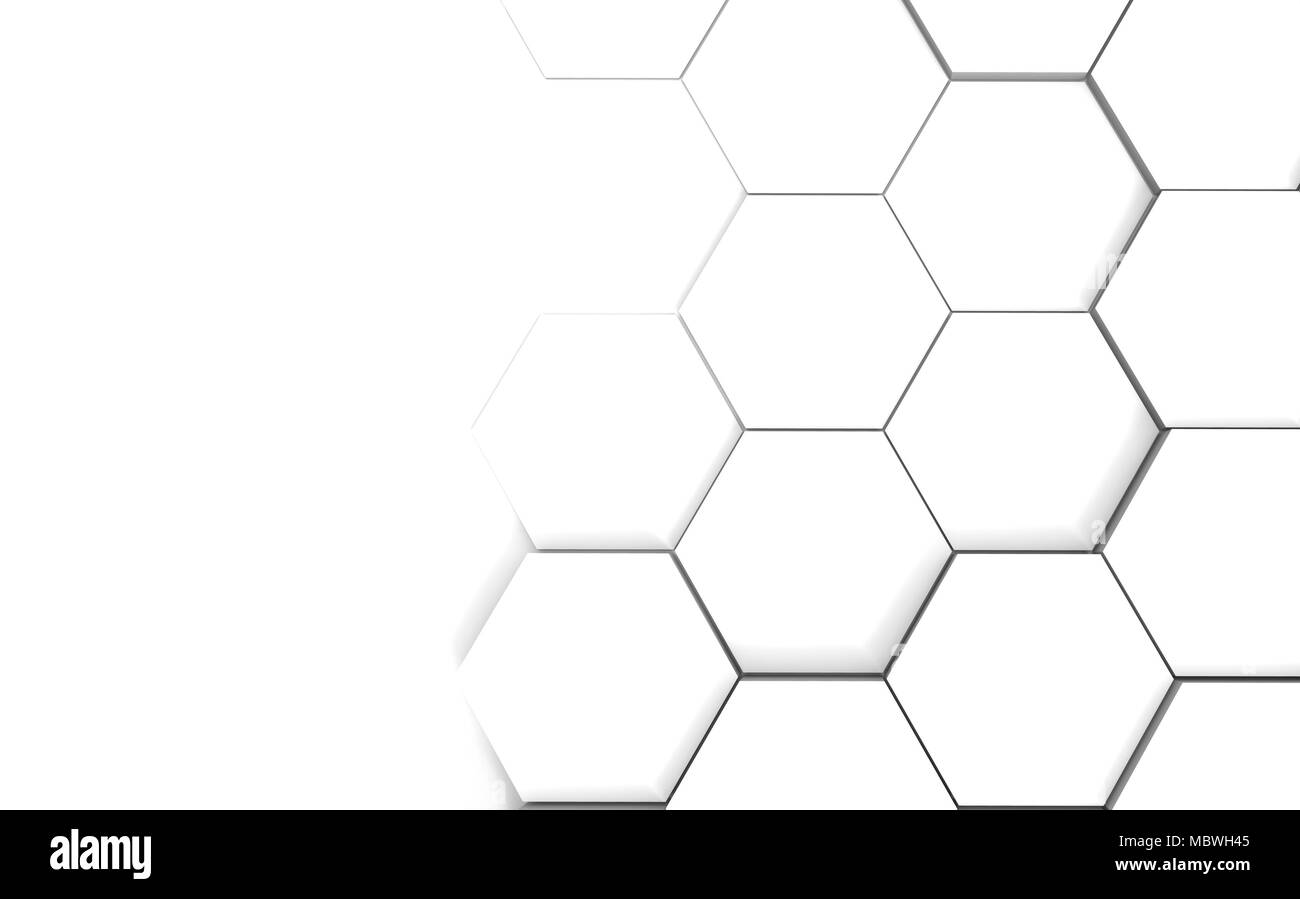 Abstract hexagonal futuristic white surface. 3d illustration - Stock Image
