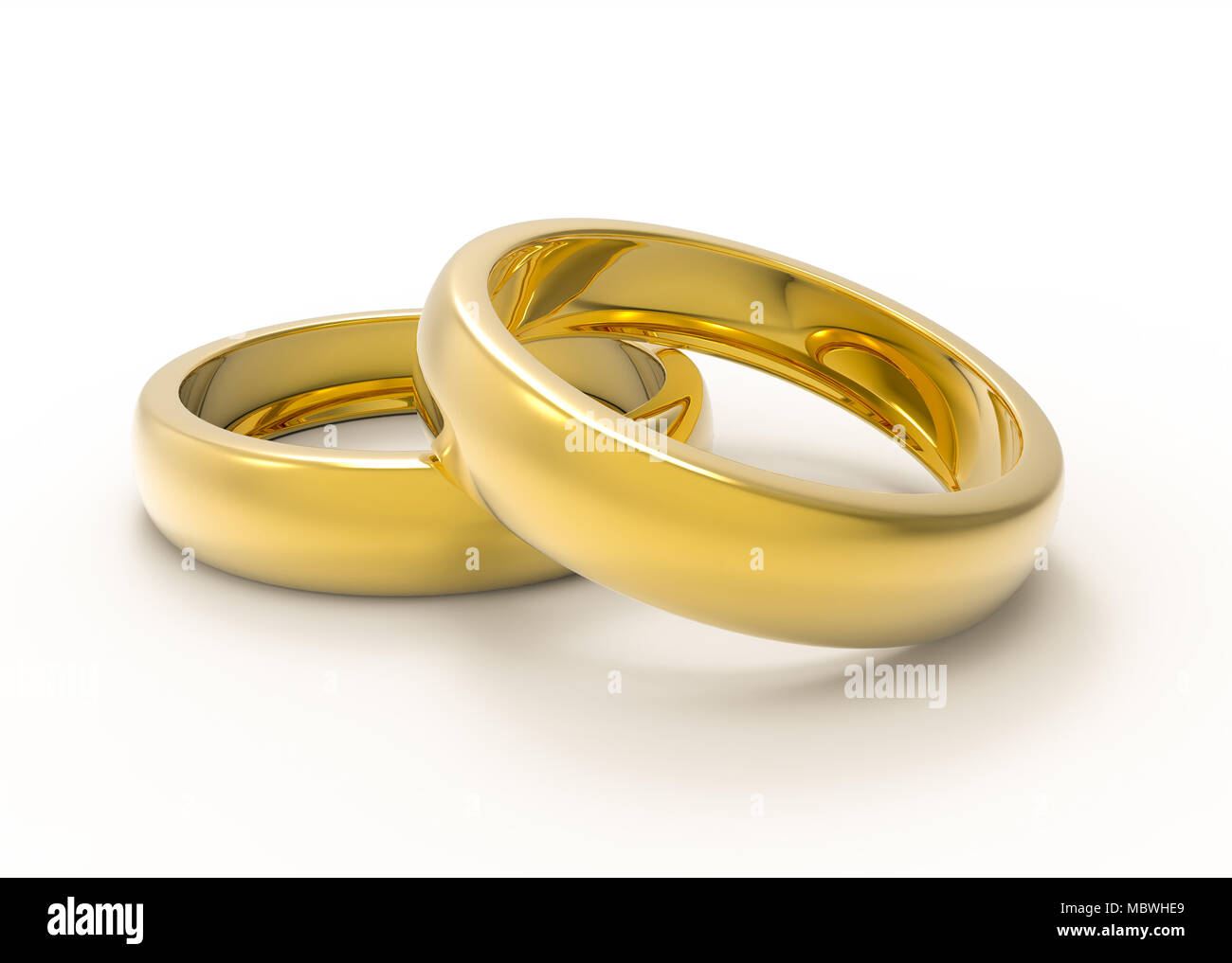 Golden Wedding rings on reflecting white table 3D illustration