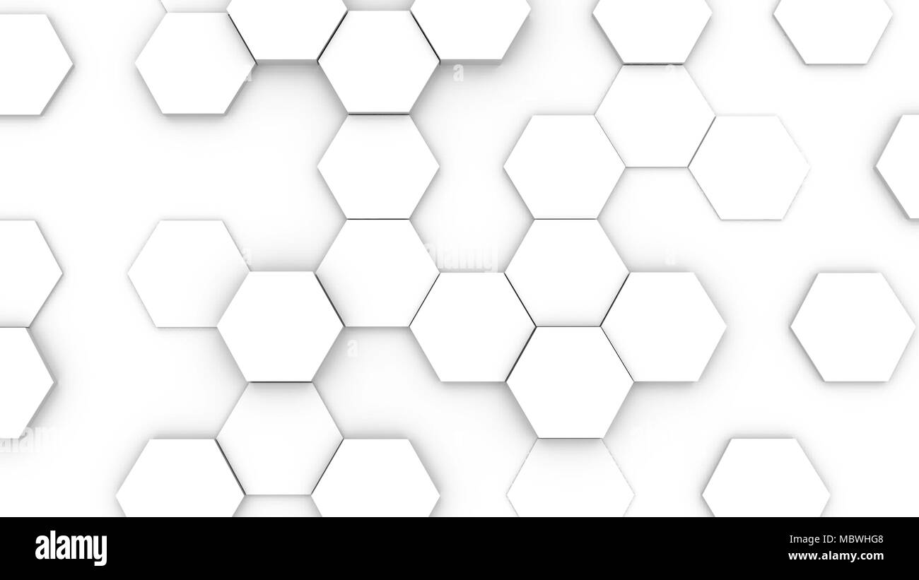 Hexagonal structure futuristic white background. 3D illustration - Stock Image