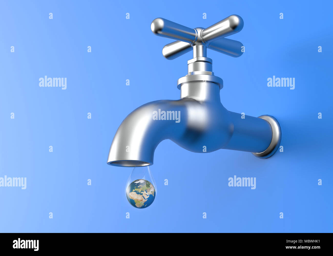 Leaking Faucet and earth planet in drop of water. Save Water concept ...
