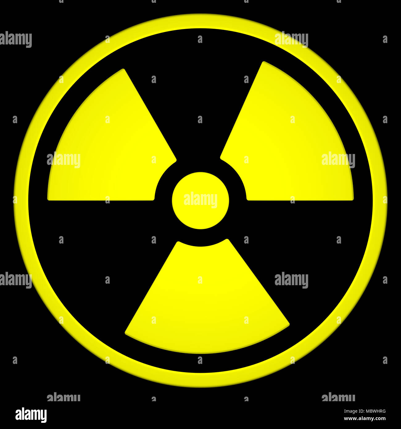 Radioactive Sign Symbol isolated on black background. 3D rendering Stock Photo