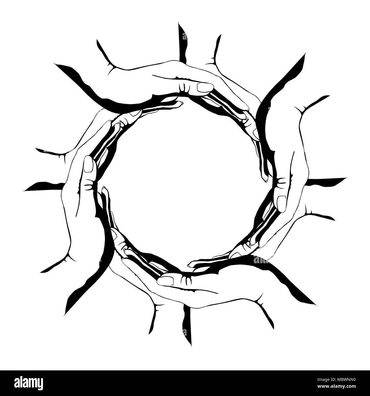 A group of people making a circle shape with their hands conceptual round symbol isolated illustration on white background