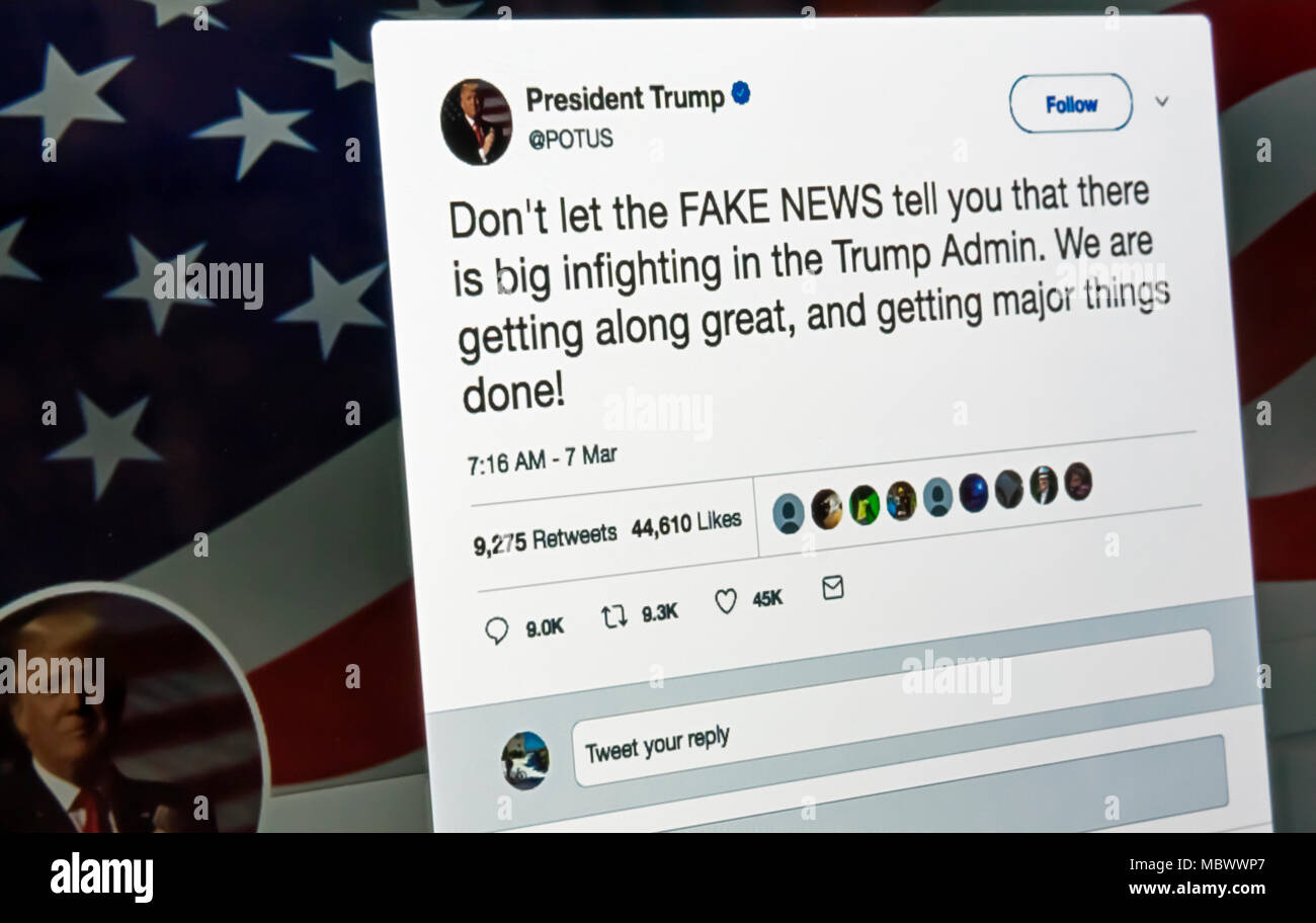 President Donald Trump's tweet regarding FAKE NEWS on the ...