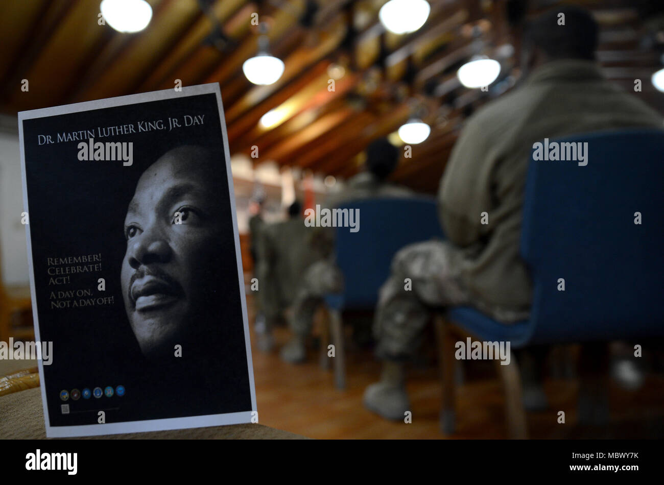 Members of Bagram Airfield gathered at the Enduring Faith Chapel to celebrate Martin Luther King Day Jan. 15, 2018 at Bagram Airfield, Afghanistan. MLK Day is a federal holiday held on the third Monday of January. It celebrates the life and achievements of Martin Luther King Jr., an influential American civil rights leader who is most well-known for his campaigns to end racial segregation on public transport and for racial equality in the United States. (U.S. Air Force photo/Staff Sgt. Divine Cox) - Stock Image