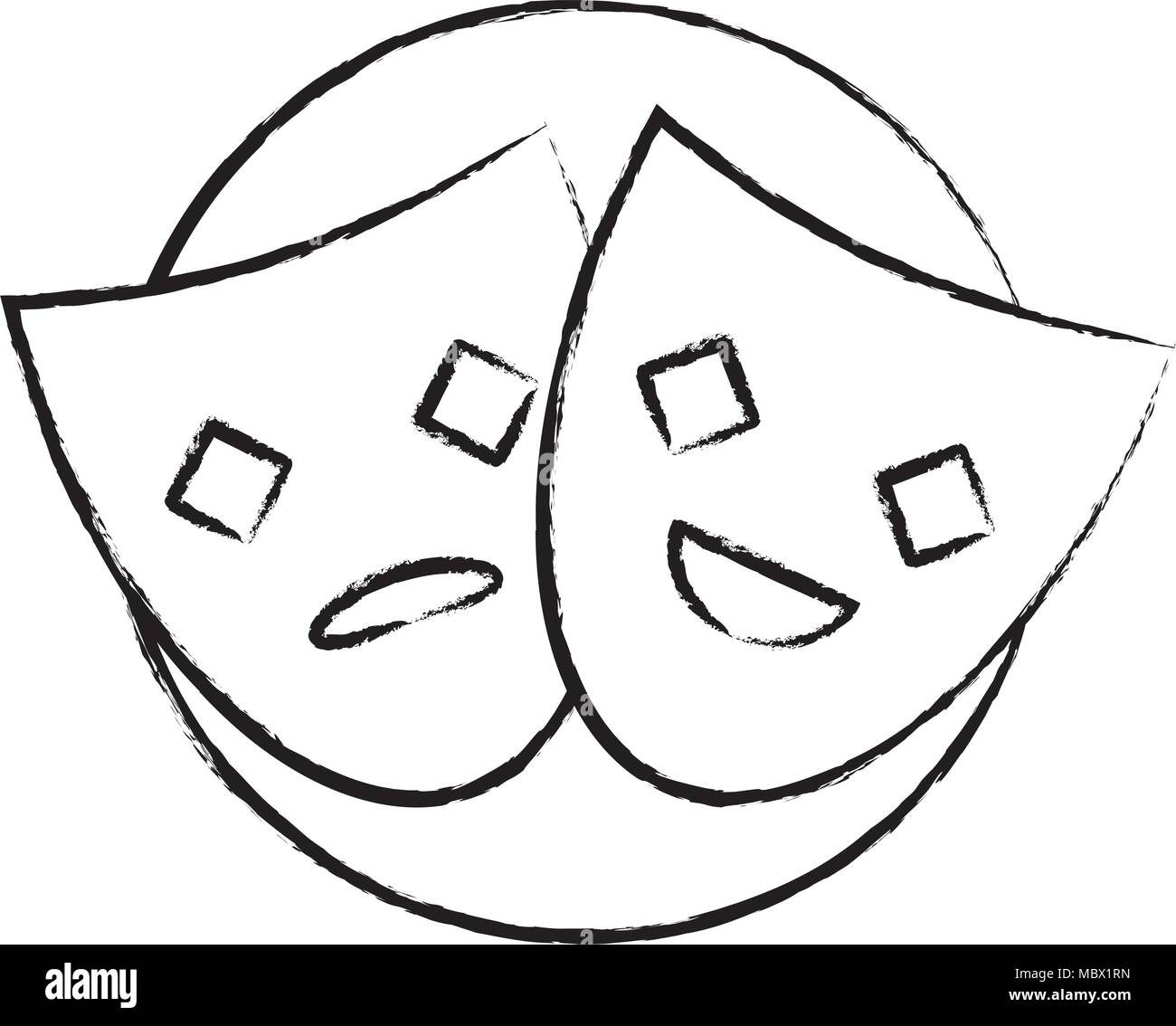 sketch of theather masks over white background, vector illustration - Stock Image