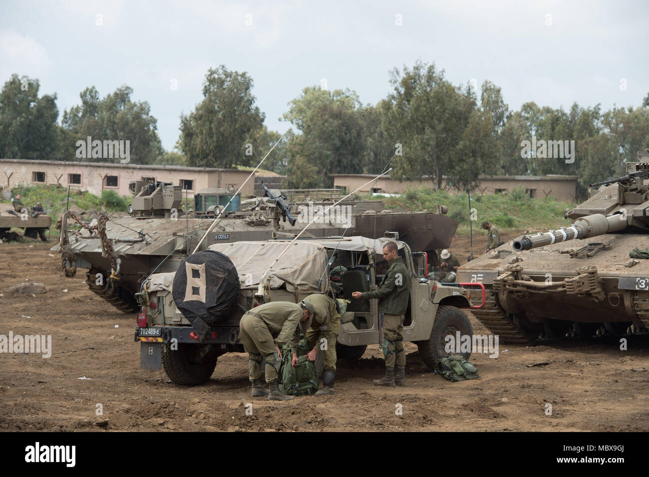 Golan Heights. 11th Apr, 2018. Israeli troops are seen on the Israel-annexed Golan Heights, on April 11, 2018. Israel's military has been put on high alert amid heightened tensions with Syria and Iran. Credit: Gil Eliyahu-JINI/Xinhua/Alamy Live News - Stock Image