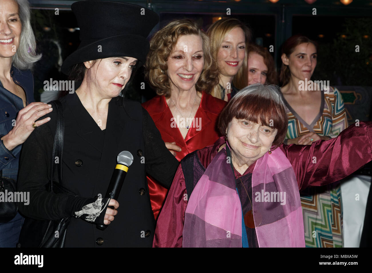 Paris, France. 11th April, 2018. Agnès Varda, elected woman of the year of the Closerie des lilas 2018 attend 11th 'La Closerie Des Lilas' Literary Awards 2018 at La Closerie des Lilas, Paris, France. Credit: Bernard Menigault/Alamy Live News - Stock Image