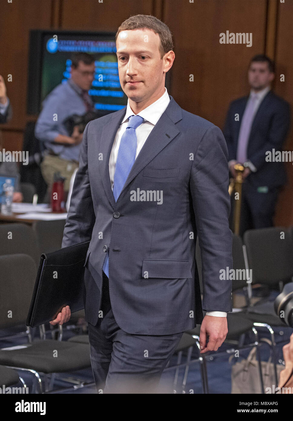 Mark Zuckerberg Co Founder And Ceo Of Facebook Returns From A Break To Resume Testimony Before A Joint Meeting Of The United States Senate Committee On The Judiciary And The Us Senate Committee