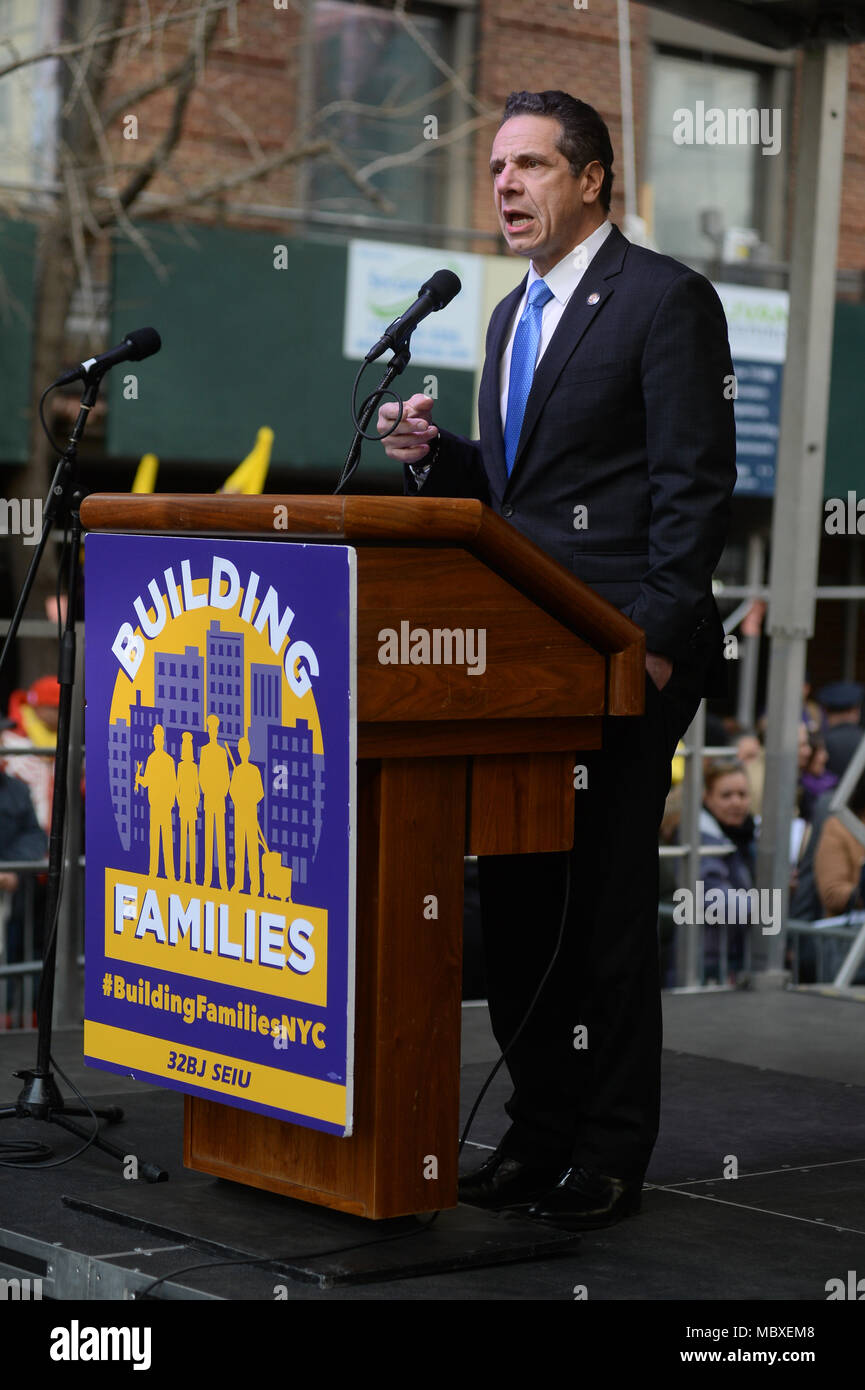 New York, USA. 11th Apr, 2018. Governor Andrew Cuomo speaks at 32BJ SEIU's Residential Contract Rally on April 11, 2018 in New York. Credit: Erik Pendzich/Alamy Live News - Stock Image