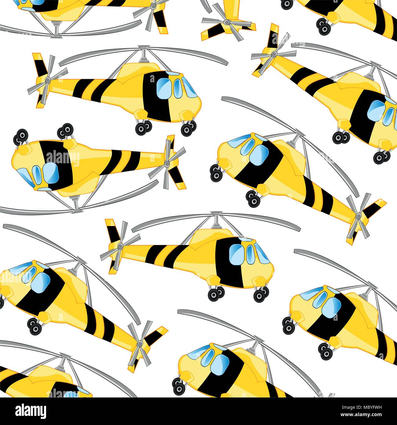 Yellow helicopter pattern - Stock Vector