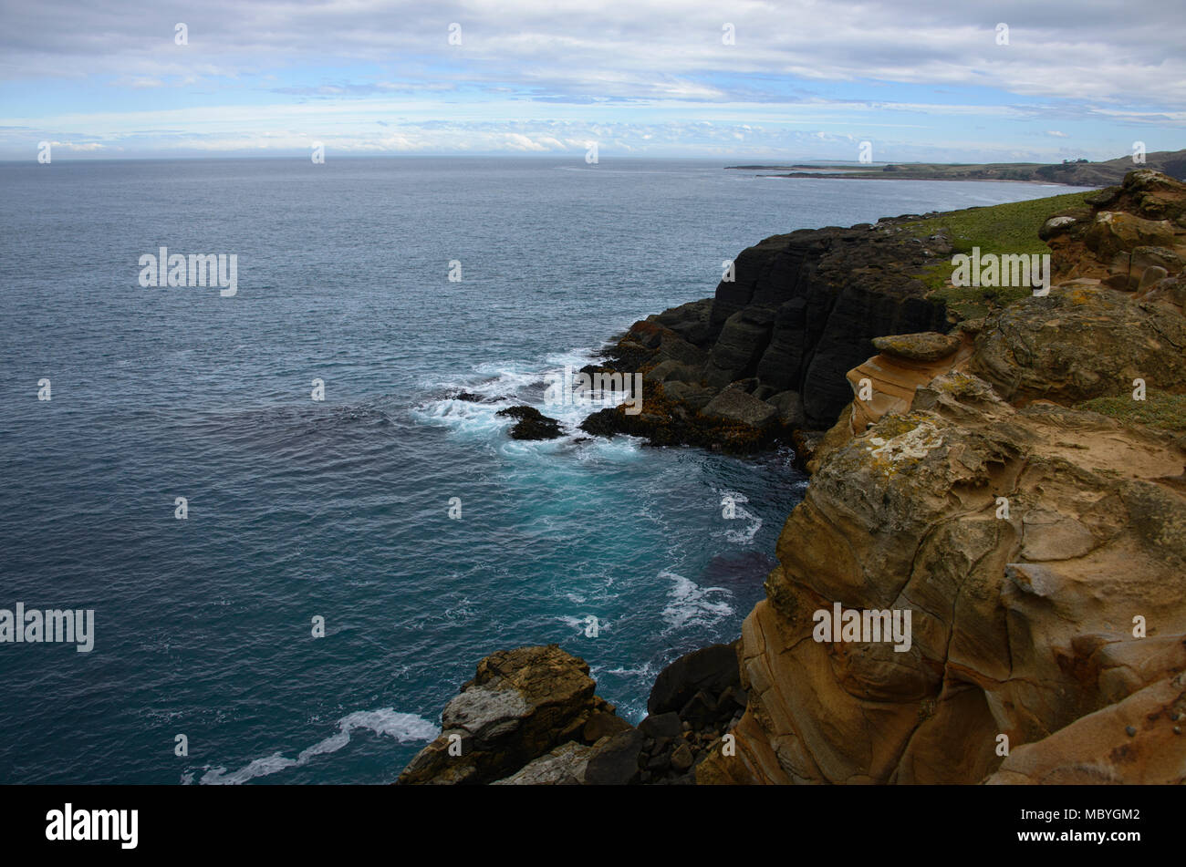 Slope Point, the South Island's most southern destination, Catlins, New Zealand - Stock Image