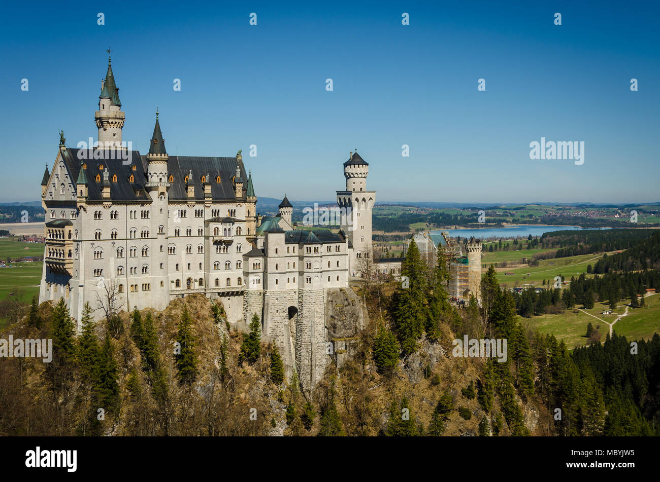 Castle Neuschwanstein in the alps - Stock Image