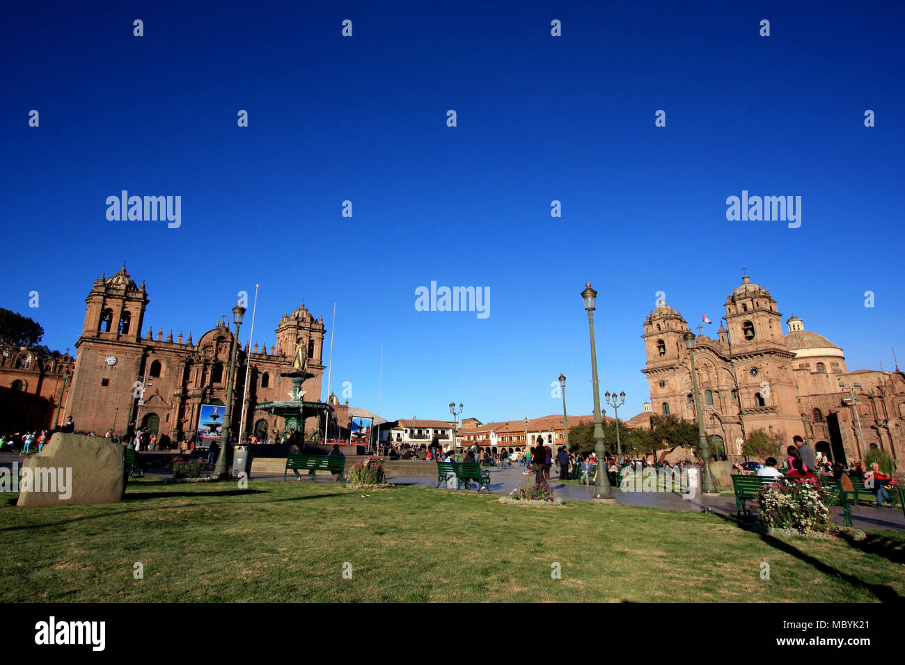 Main Square in front of the two Cathedrals in Cuzco, Peru Stock Photo