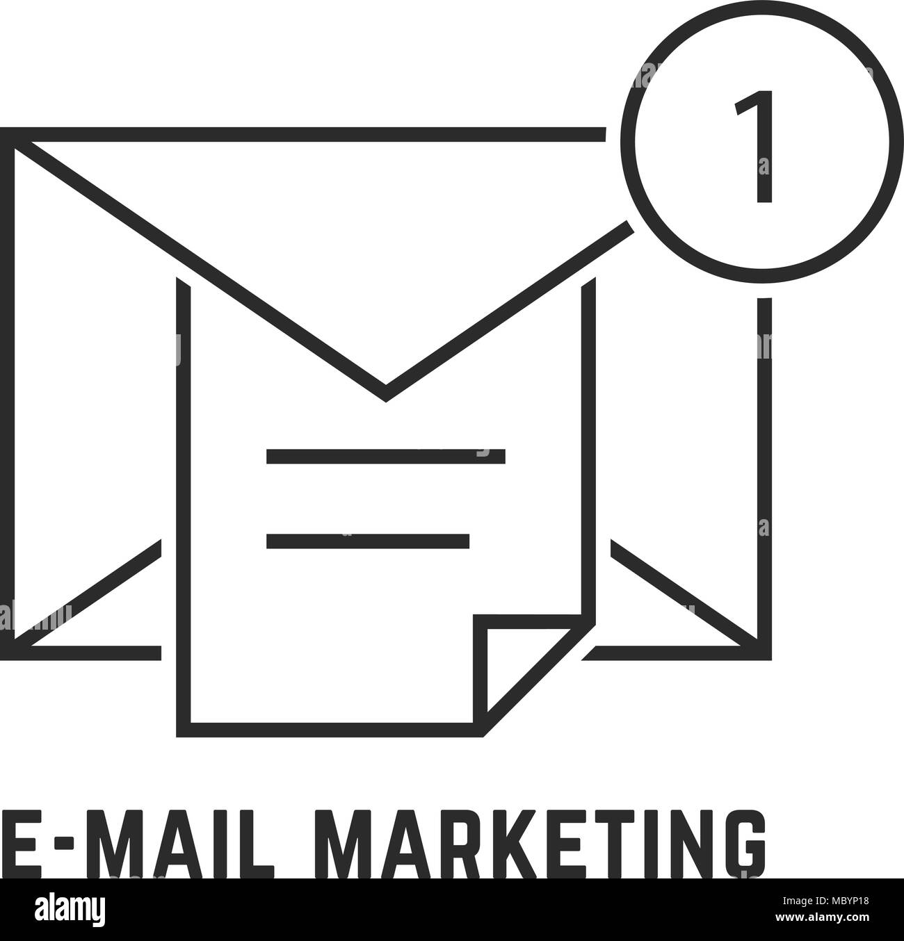 e-mail marketing with thin line notice - Stock Image