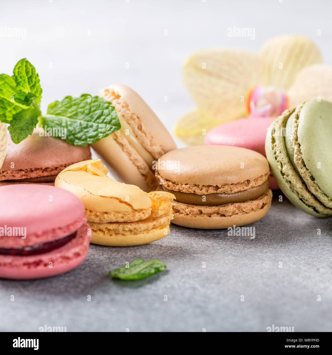 French assorted macarons Stock Photo