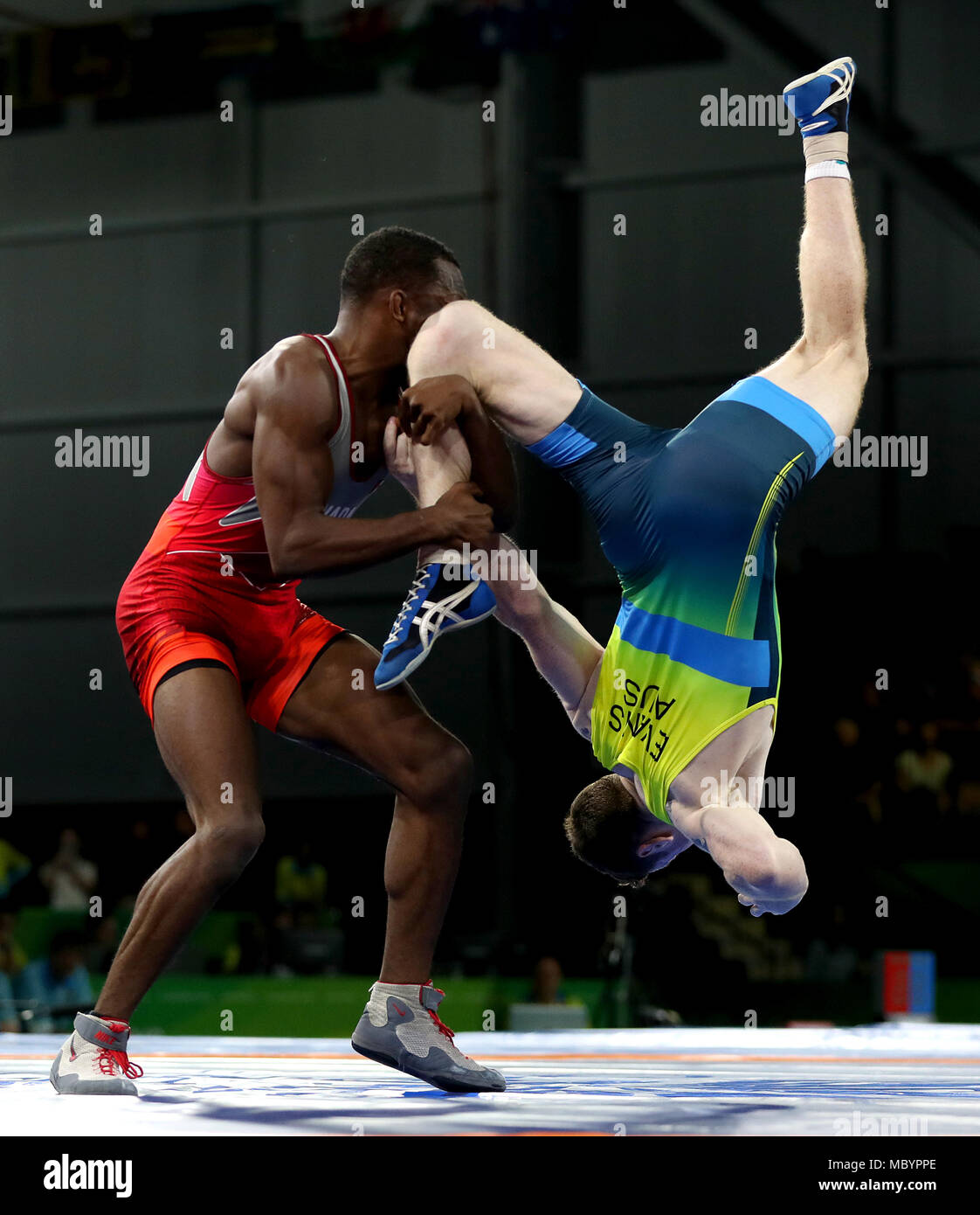 b4572b6d18 Canada's Jevon Balfour (left) and Australia's Connor Evans (right) in  action during the Men's Freestyle 74 kg Bronze at the Carrara Sports Arena  during day ...
