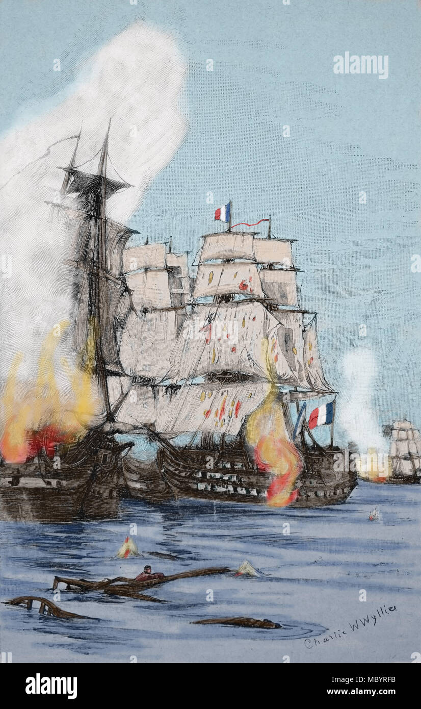 Battle of Trafalgar (21 Octubre 1805). Belligerents: French and Spanis Navies confronted with British Royal Navy. British victory. Engraving, 19th c. - Stock Image