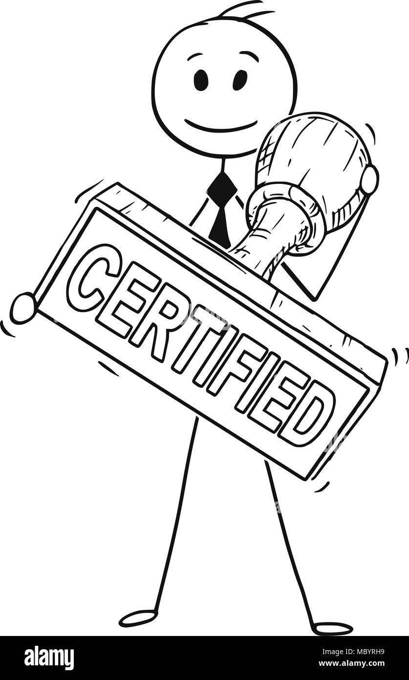 Cartoon of Businessman Holding Big Hand Rubber Certified Stamp - Stock Image