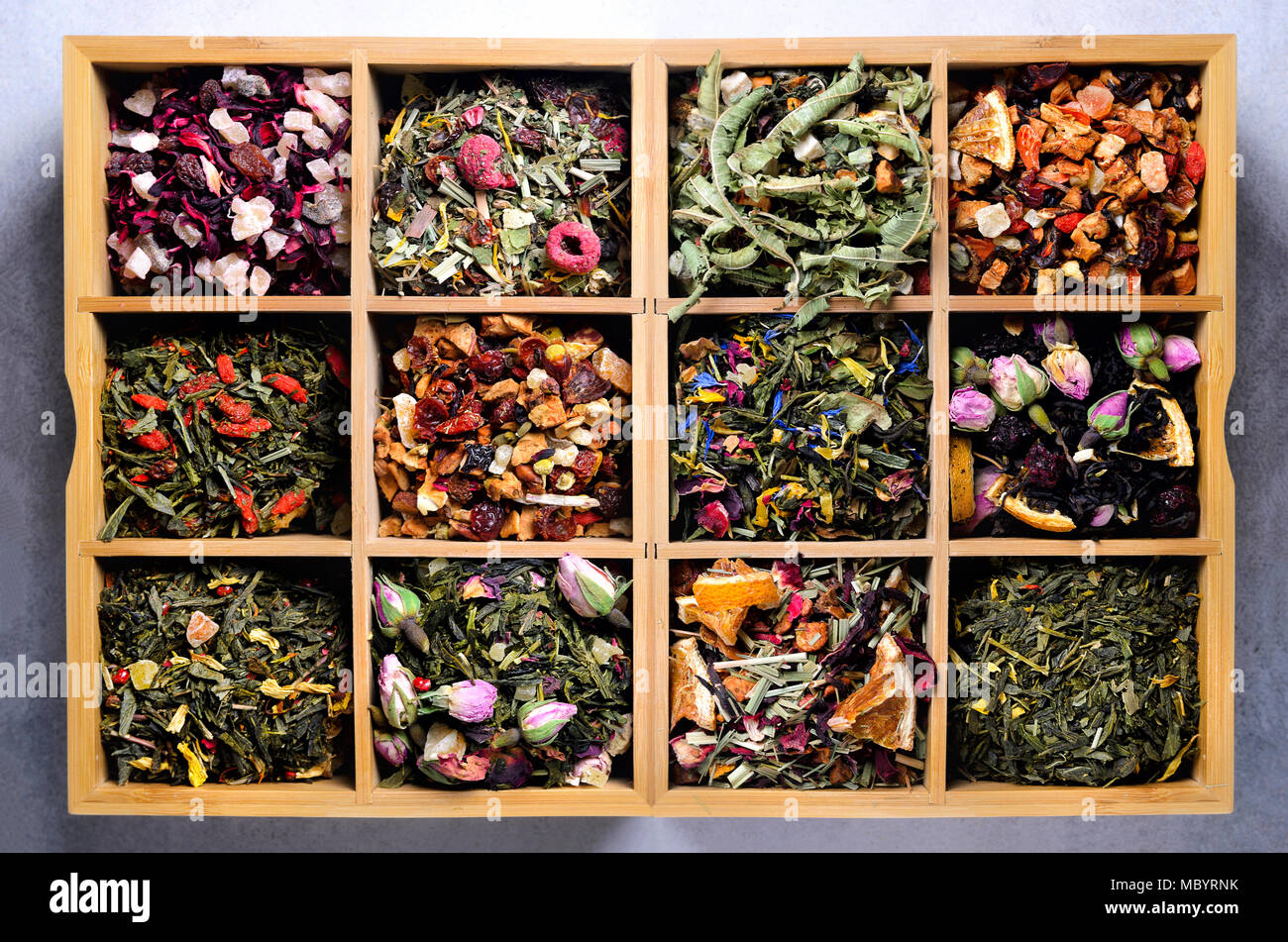 Assortment Of Dry Tea In Wooden Box Tea Types Green Black Floral
