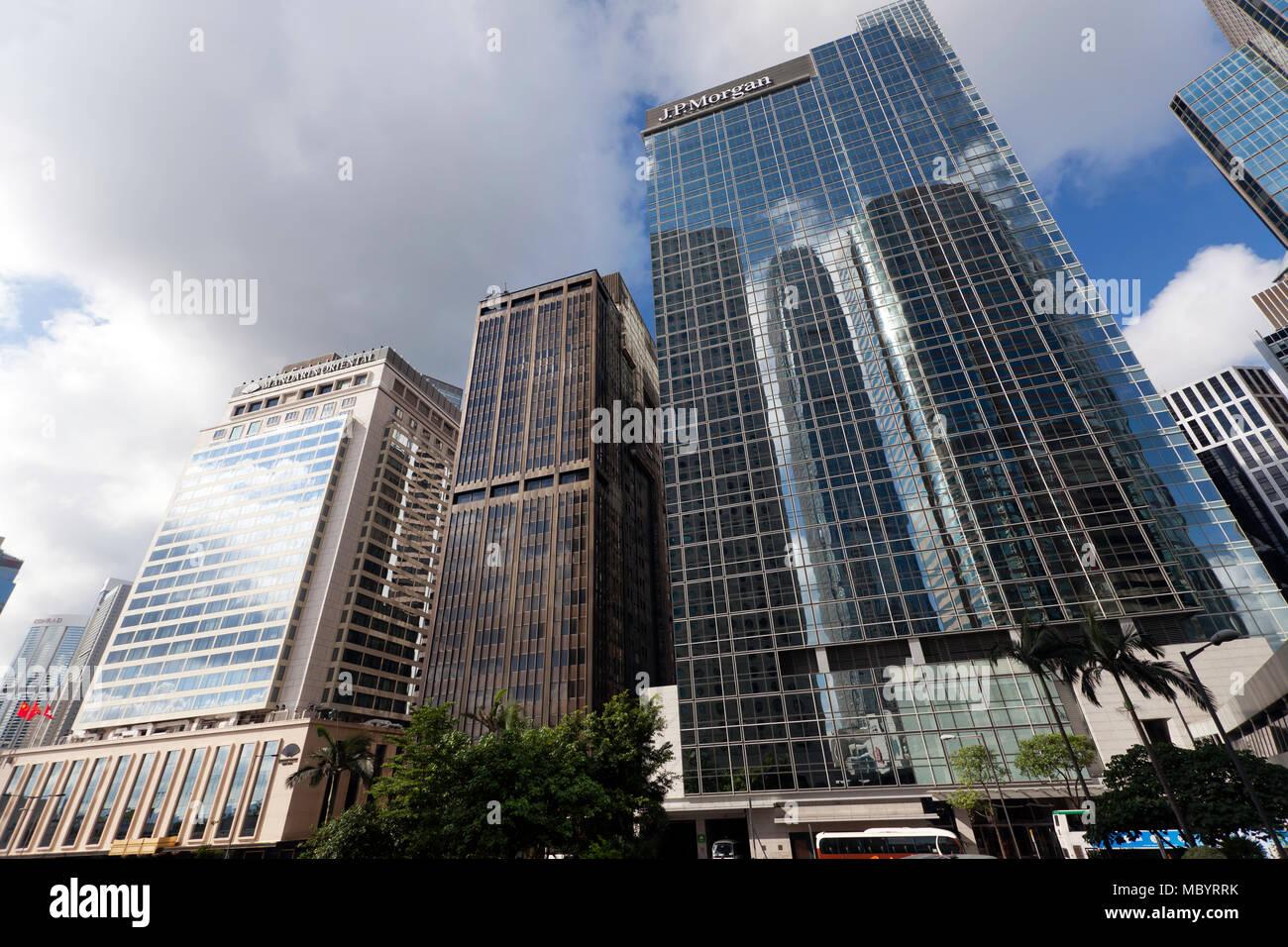 JP Morgan Building, Connaught Road Central,  Hong Kong Stock Photo
