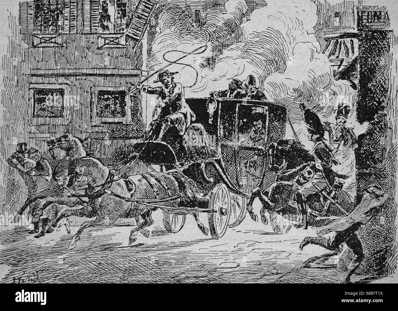 Attempt on the life of 1st Consul Napoleon Bonaparte in St-Nicaise street, or Machine infernale plot, Paris, 24 December 1800. - Stock Image