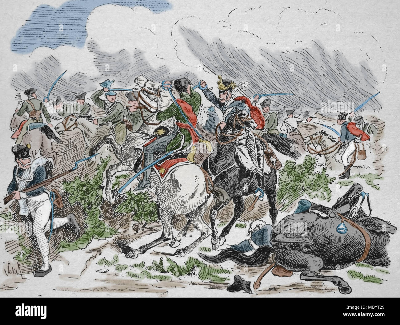 Death of Prince Louis Ferdinand of Prussia (1772-1806) during Battle of Saalfeld. War of the Fourth Coalition.Napoleonic Wars. - Stock Image