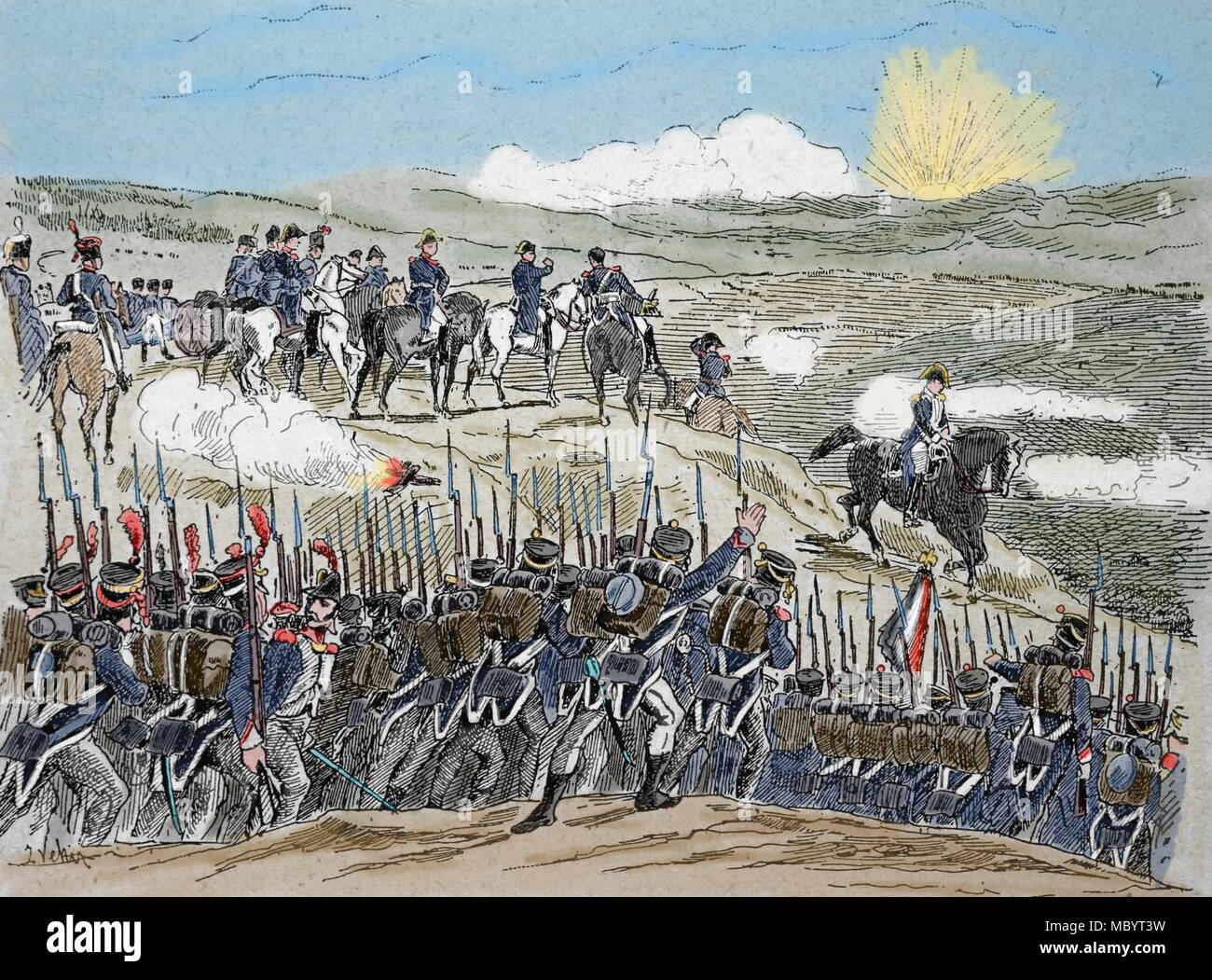 Battle of Austerlitz 2 December, 1805). Napoleonic Wars, Part of War of the Third Coalition. Engraving, 19th century. - Stock Image