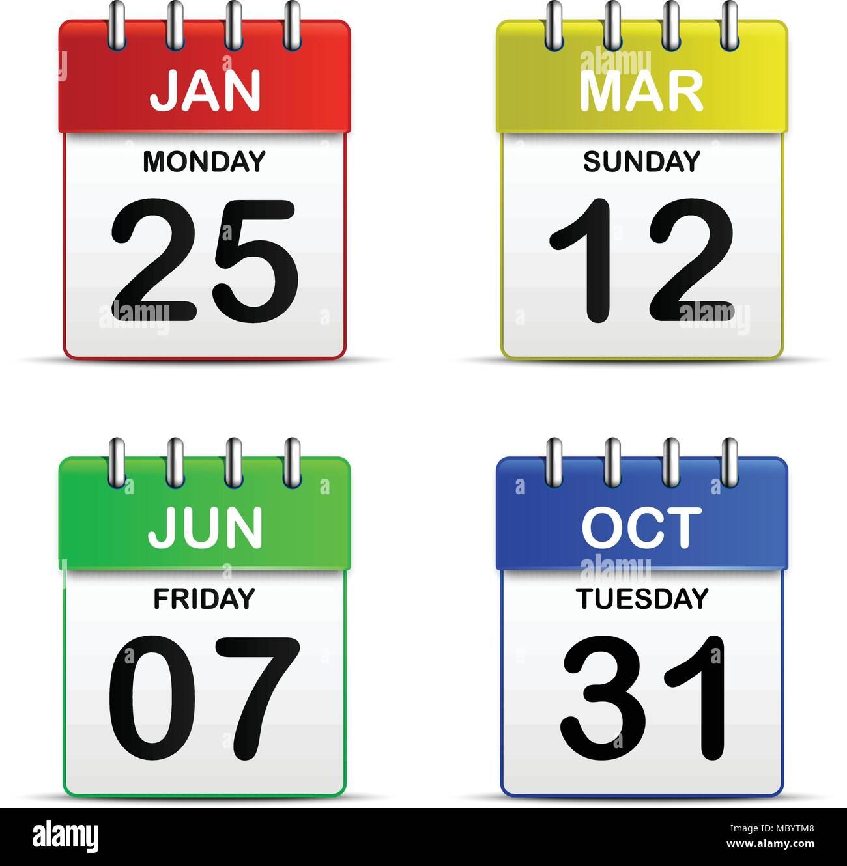 Colorful four tear off calendar icon 3d for vector graphic idea design concept - Stock Image