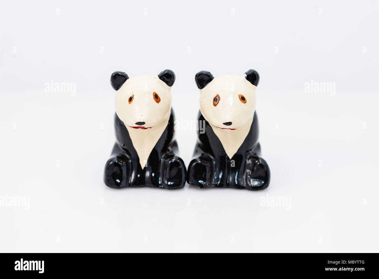 stoic panda bears salt and pepper shakers set - Stock Image