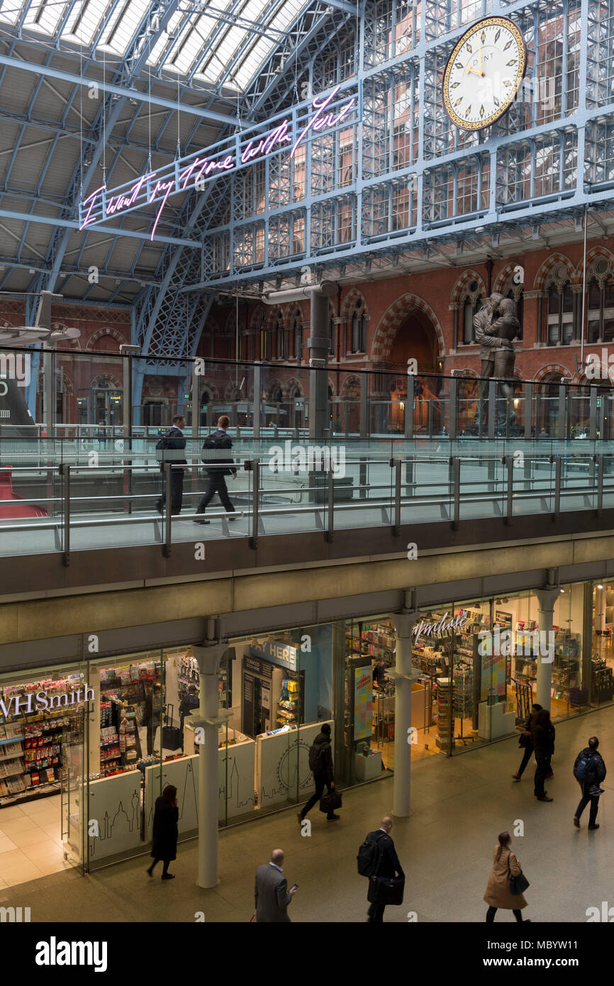 Passengers pass through the main concourse at St. Pancras Station, on 10th April 2018, in London, England. Stock Photo