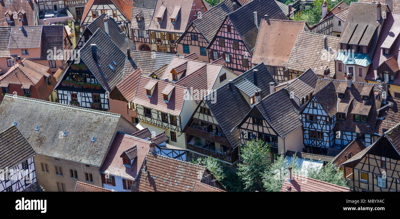 View down on to the rooftops of central Kaysersberg from the castle, Alsace, France - Stock Image