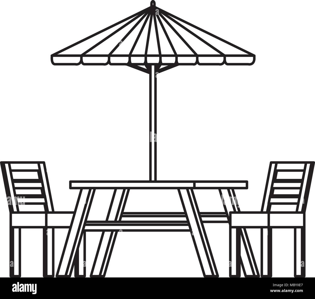Picnic Table With Umbrella   Stock Image