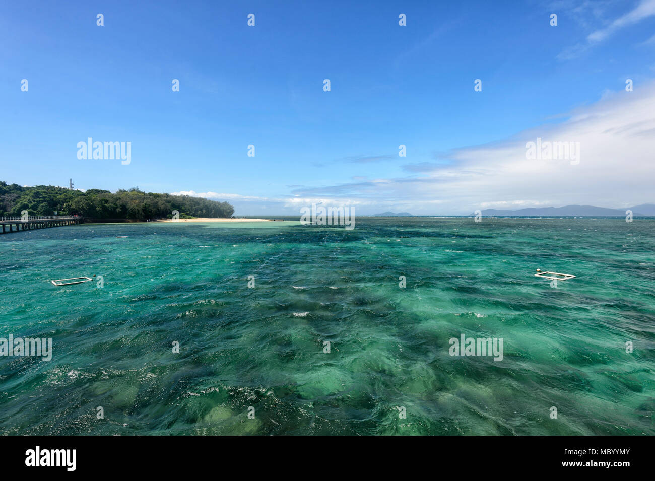Turquoise waters of Green Island, a coral cay off Cairns in the Great Barrier Reef Marine National Park, Far North Queensland, QLD, FNQ, GBR, Australi - Stock Image