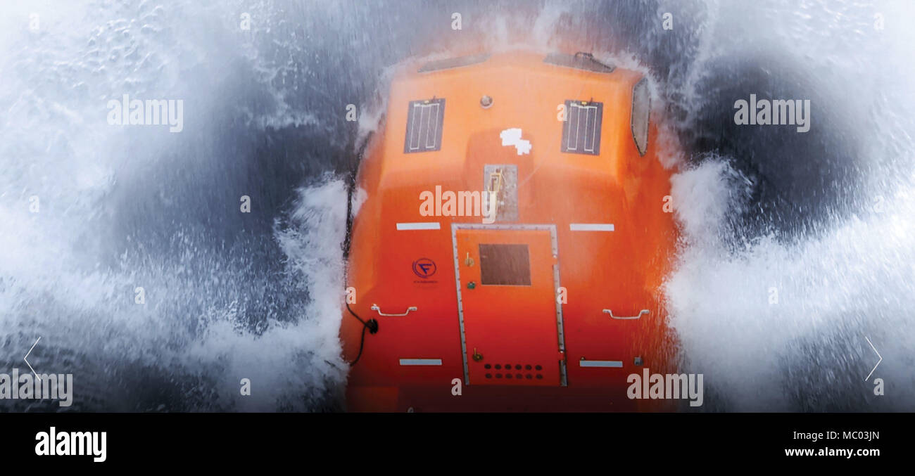 A lifeboat equipped with solar panels endures harsh maritime
