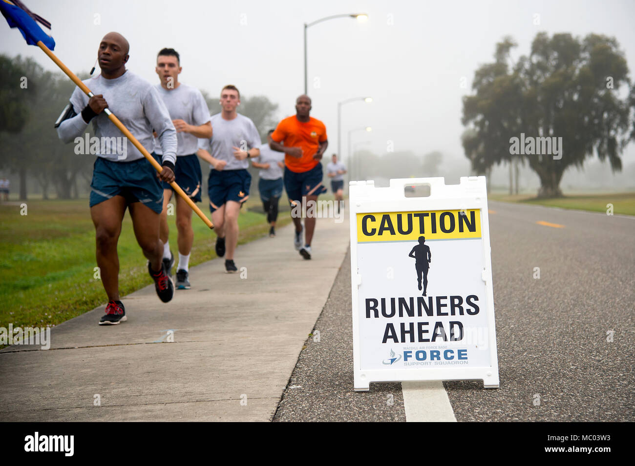 Airmen From Macdill Air Force Base Fla Run During The New Years