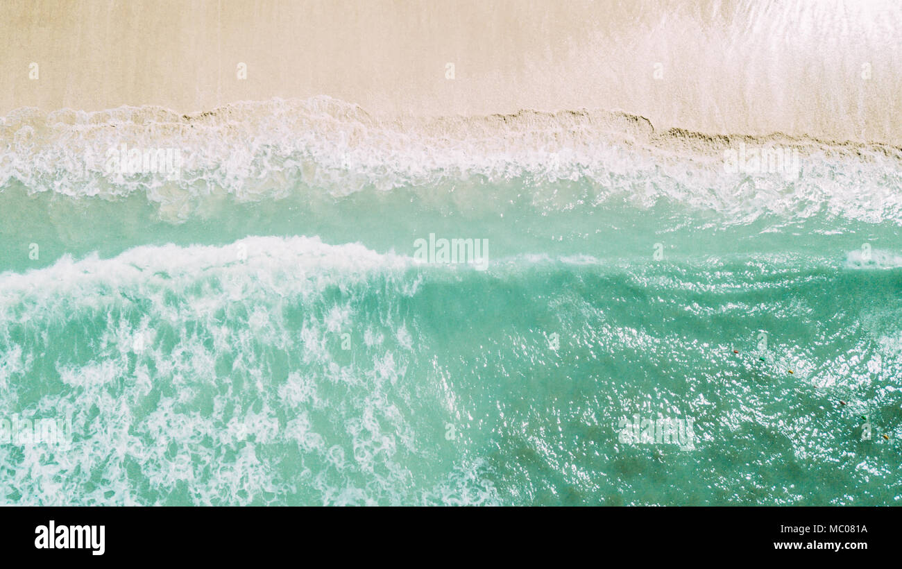 white sand and blue ocean. waves - Stock Image