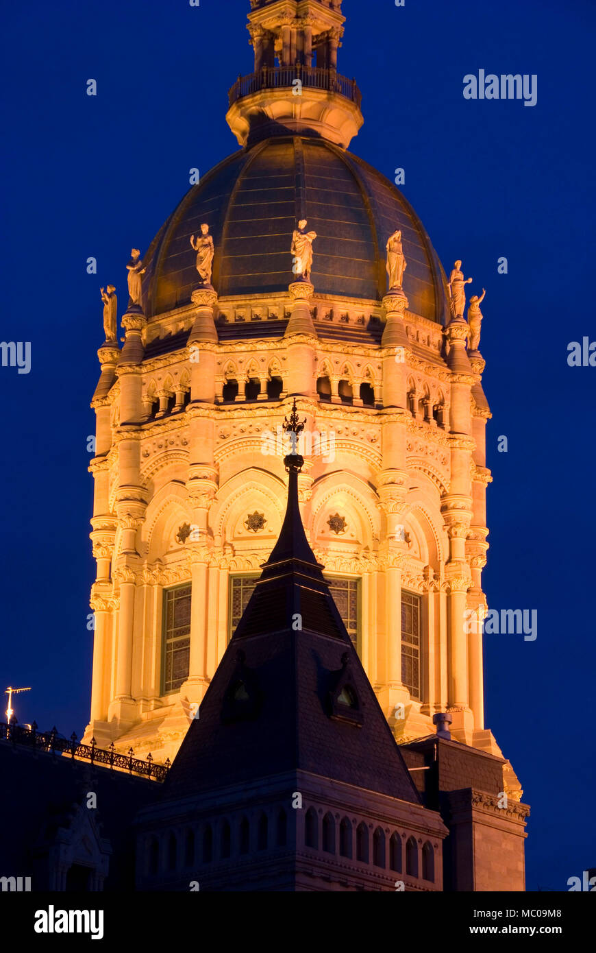 State Capitol dome at night, Connecticut State Capitol, Hartford, Connecticut - Stock Image